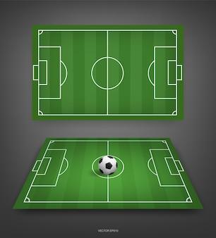 Campo de futebol ou fundo de campo de futebol com bola de futebol