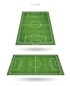 Campo de futebol ou fundo de campo de futebol isolado no branco