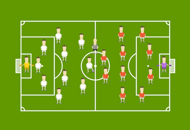 Campo de futebol verde com jogadores de futebol. template infográfico