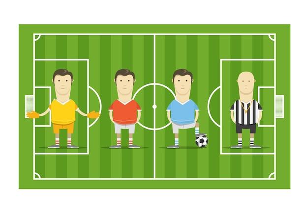 Campo de futebol verde com jogadores de futebol
