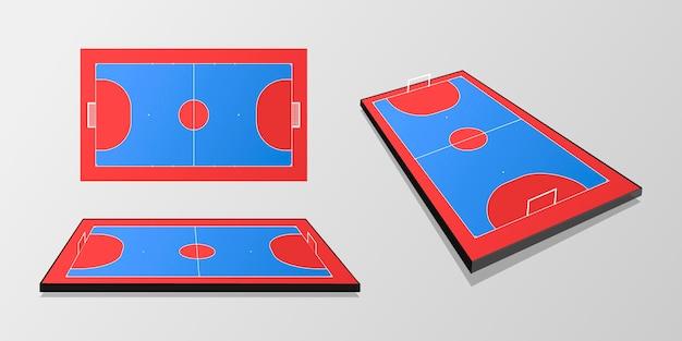 Campo de futsal azul e vermelho em ângulos diferentes