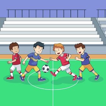Campo de futsal com ilustração de jogadores