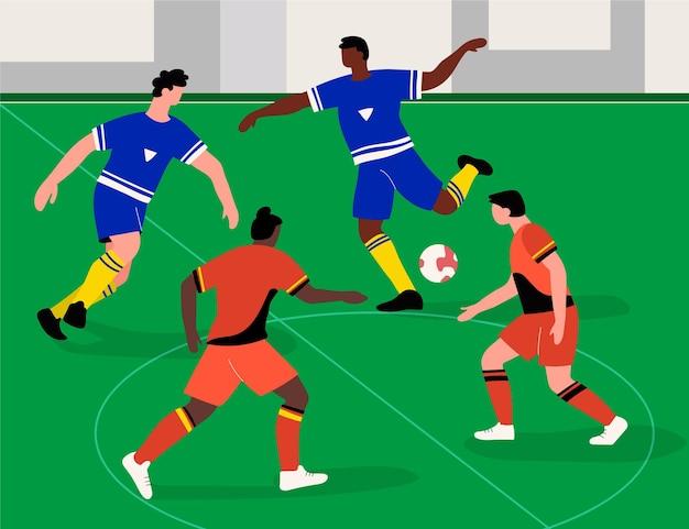 Campo de futsal com jogadores