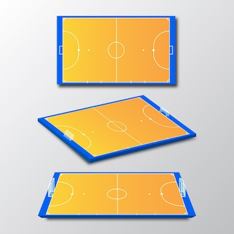 Campo de futsal em diferentes perspectivas