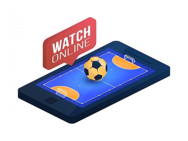 Campo de futsal na ilustração isométrica do conceito on-line da tela do telefone. conceito isométrico de futsal online.
