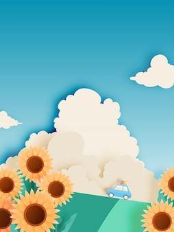 Campo de girassol com carro de viagem de estrada e estilo de arte de papel e ilustração em vetor pastel esquema