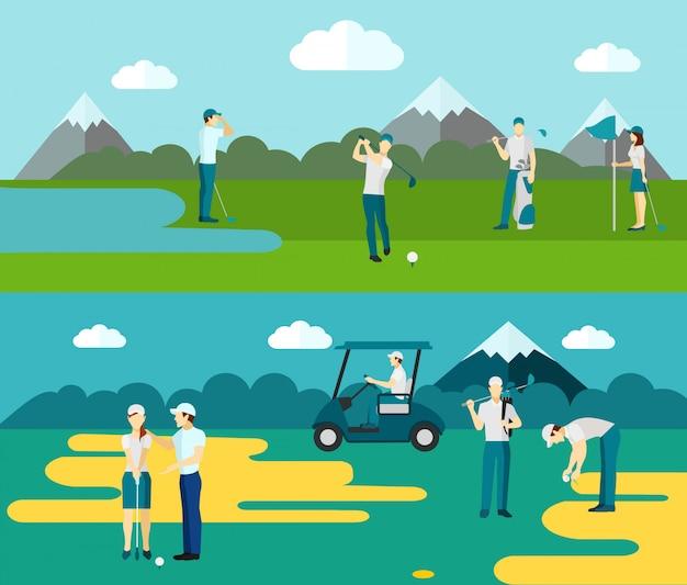 Campo de golfe 2 flat banners composição