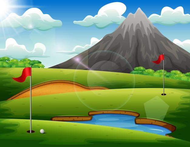 Campo de golfe com bela paisagem