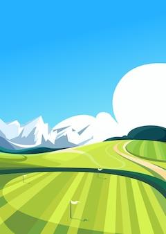 Campo de golfe com montanhas ao fundo. localização de esportes ao ar livre na orientação vertical.