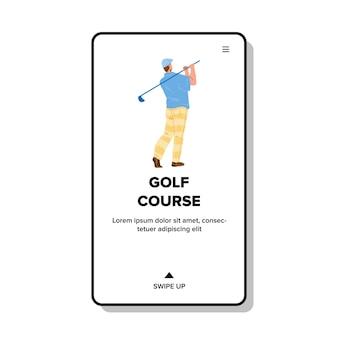 Campo de golfe jogando jogador de golfe desportista vector. homem que joga o jogo e bater a bola com o clube no campo de golfe. personagem garoto atleta faz atividade esportiva tempo web ilustração em desenho animado