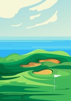Campo de golfe verde. localização de esportes ao ar livre na orientação vertical.