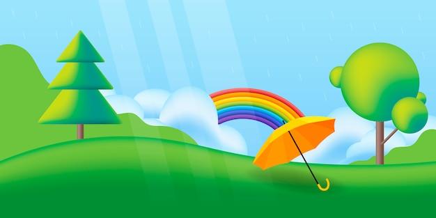 Campo de grama com arco-íris e chuva de primavera