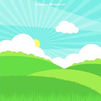 Campo de grama com sol e nuvens no design plano