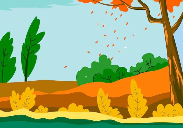 Campo de paisagem de outono com folhas de árvore caindo