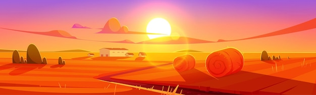 Campo de paisagem rural do cenário do pôr do sol com pilhas de feno e edifícios agrícolas sob um céu nublado colorido