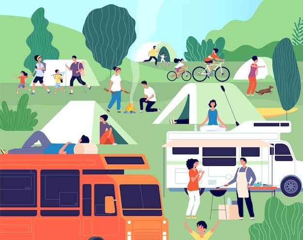 Campo de verão. pessoas felizes diversas acampando na natureza. grupo de amigos com crianças, trailers e churrasco ao ar livre em férias