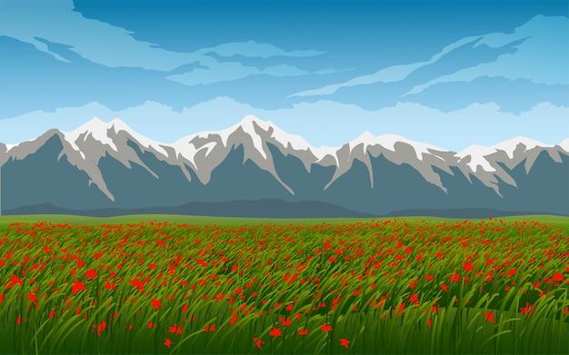 Campo e flores com montanha