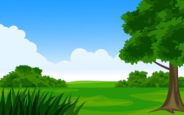 Campo lindo de verão com árvores e céu azul