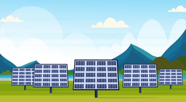 Campo painéis solares alternativa fonte de energia limpa estação renovável distrito photovoltaic conceito paisagem natural rio montanhas fundo horizontal