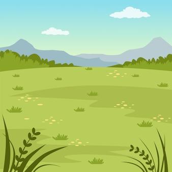 Campo verde, paisagem rural de verão, ilustração de fundo natureza