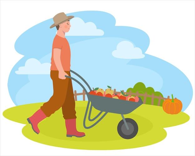 Camponês com carrinho de mão, legumes e frutas. desenhos animados e ilustração vetorial, objetos isolados. vetor