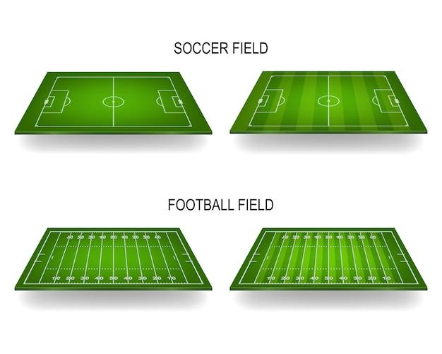 Campos de futebol e futebol americano com perspectiva.