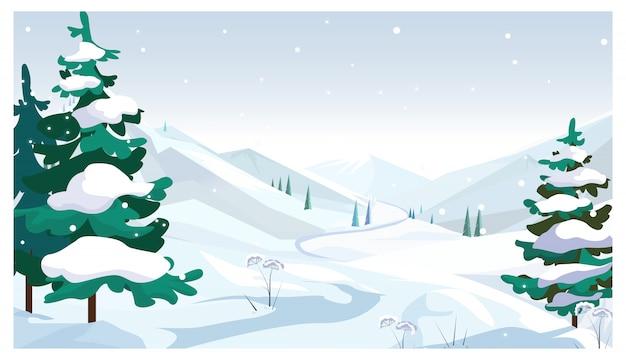 Campos de inverno com ilustração de neve caindo