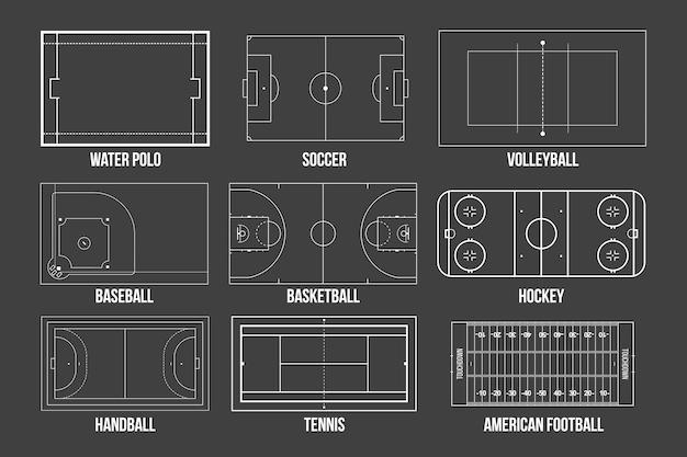 Campos de jogo de esporte marcando plano de fundo.