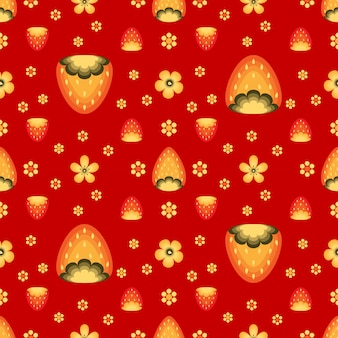 Campos de morangos no estilo folk khokhloma