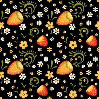 Campos de morangos no estilo tradicional de khokhloma