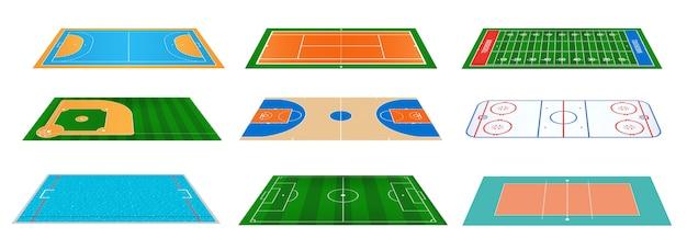 Campos do jogo do esporte que marcam o fundo.