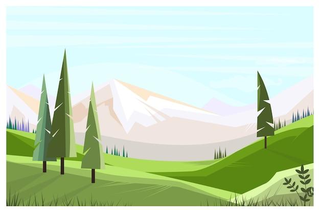 Campos verdes com ilustração de árvores altas