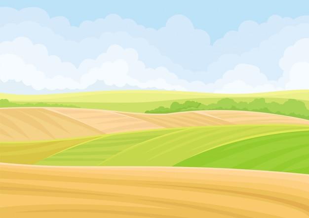 Campos verdes e amarelos nas colinas.