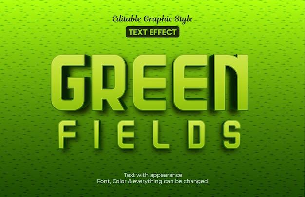 Campos verdes, efeito de texto de estilo gráfico editável
