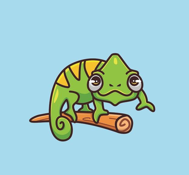 Camuflagem camaleão fofo no galho. conceito da natureza animal dos desenhos animados ilustração isolada. estilo simples adequado para vetor de logotipo premium de design de ícone de etiqueta. personagem mascote