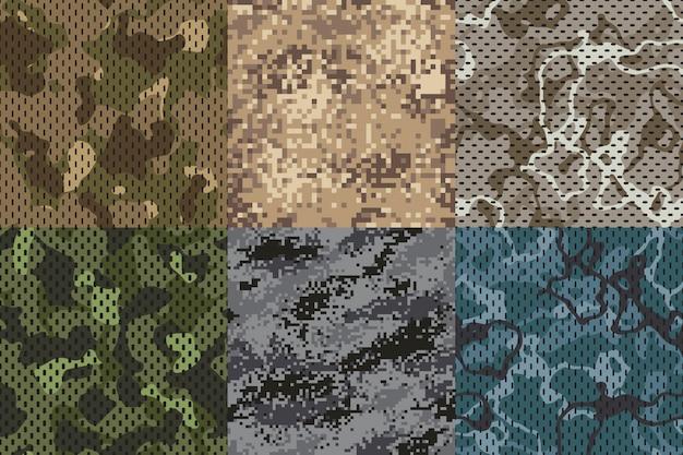 Camuflagem cáqui textura. floresta sem costura de tecido de exército e areia camo rede conjunto de texturas padrão