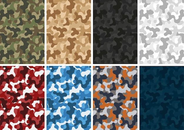 Camuflagem exército conjunto diferentes cores padrão