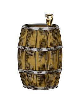 Cana de açúcar. produto da usina de cana-de-açúcar. gravação de alimentos orgânicos naturais ou ingredientes naturais desenhados à mão. cachaça fresca em barril