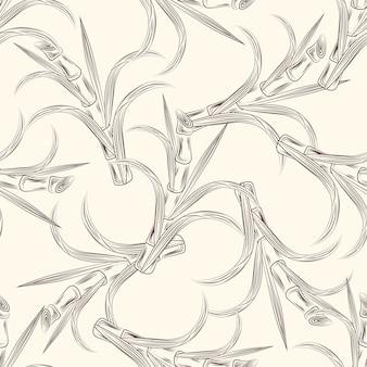 Cana-de-açúcar talos com folhas padrão sem emenda.