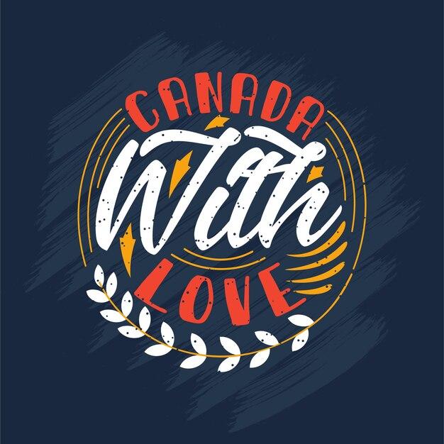 Canadá com amor, desenho de letras do dia do canadá