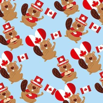Canadá dia castores balões bandeiras fundo