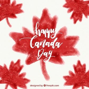 Canadá, dia, fundo, aquarela, folhas