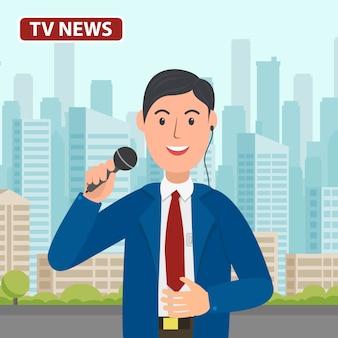 Canal de notícias de apresentador de tv com microfone na mão. r