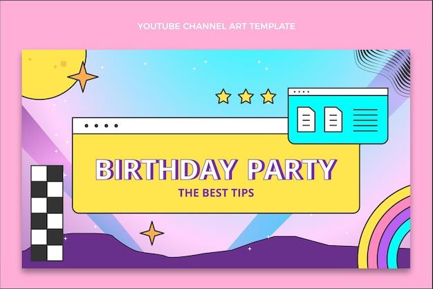 Canal do youtube de aniversário de gradiente retro vaporwave