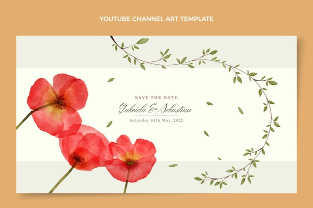 Canal do youtube de casamento floral aquarela