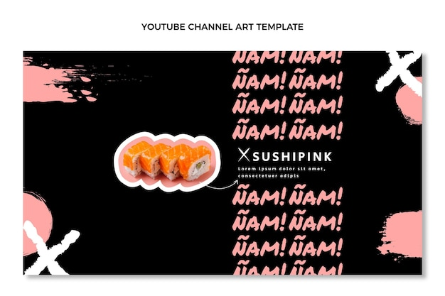Canal do youtube de comida asiática com design plano