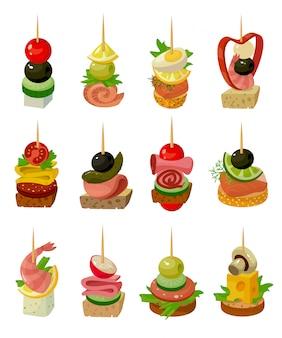 Canape de ilustração de alimentos no fundo branco. desenhos animados isolados definir aperitivo de ícone. desenho animado conjunto canape de ícone de comida.