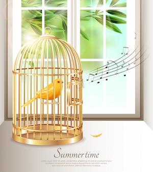 Canário cantando em gaiola dourada