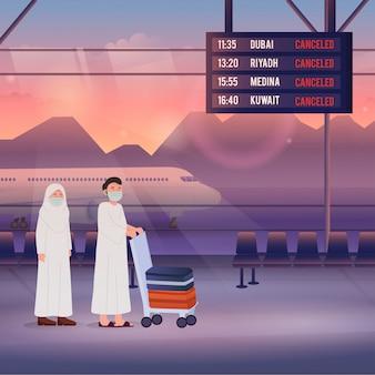 Cancelamento de voo e adiamento do hajj devido a doença de coronavírus