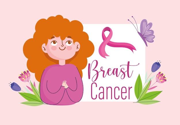 Câncer de mama cartoon mulher fita rosa flores borboleta banner ilustração